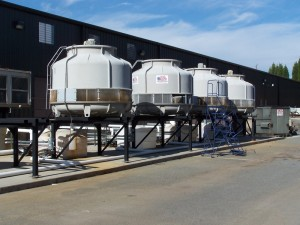 American Chillers & Cooling Towers Multiple FRP Cooling Tower Systems Installation